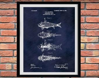 1908 Artificial Fish Bait Patent Print #2, Fishing Lures Poster,  Mechanical Fish Lure Art Print, Fishing Camp Decor, Fishing Tackle Poster