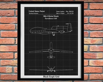 RQ-4 Global Hawk Patent Print, RQ-4 Global Hawk uav Drawing - Aviation Decor - Northrop Grumman RQ-4 Global Hawk Surveillance Unmanned Drone