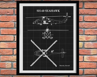SH-60 Seahawk Helicopter Art Print, Sikorsky SH-60 Sea Hawk Blueprint, Chopper Pilot Gift, Sikorsky SH-60 Drawing, Helicopter Decor