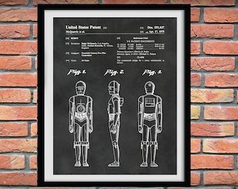 1979 Star Wars C3PO Patent Print - C3P0 Poster Print - George Lucas C3PO Droid - Star Wars C3P0 Blueprint, Star Wars Movie Poster