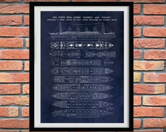 R.M.S. Titanic Poster Vers #2 - Titanic Poster - Titanic Blueprint - Titanic Decor - Titanic Cutaway Drawing - Titanic Deck Plans