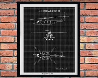 Sikorsky MH-53 Pave Low Art Print, Sikorsky MH-53J Pave Low Helicopter Drawing, Chopper Pilot Gift, Helicopter Decor