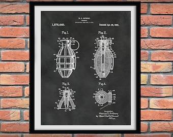 1921 Hand Grenade Patent Print, Hand Grenatde Poster, Military Weapon Blueprint -