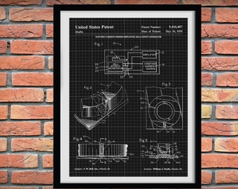 Hall Effect Generator Patent Print - 1995 Hall Effect Generator Blueprint - Technology Lab Decor - Electronics Blueprint - Semiconductor Art