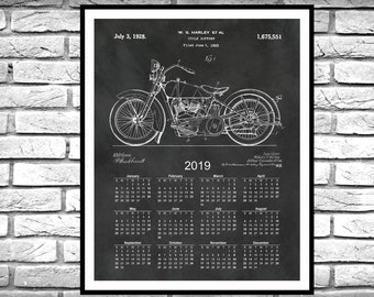 2019 Calendar 1928 Harley Patent Print - Harley Poster - Harley Davidson Calendar for 2019 - Harley Collector Gift Idea