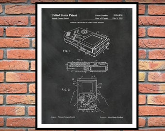 1993 Nintendo Gameboy Patent Print - Game Room Decor - Gameboy Blueprint - Gameboy Poster- Nintendo Patent Print - Video Game Poster -
