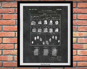 1926 Fingerprint Identification System Patent Print, Police Crime Lab Decor, Police Evidence Room Decor, Fingerprint ID Blueprint, CSI Decor