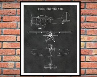 Lockheed Vega 5B Airplane Poster - Amelia Earhart Airplane Blueprint - Aviation Decor - Lockheed Vega 5B Blueprint