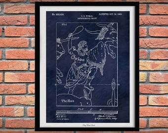 1906 Astronomical Chart Patent Print, Wyman Star Chart Poster, Nautical Decor, Celestial Decor, 1906 Constellation Blueprint, Orion Poster