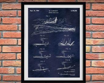 1964 Jumping Water Skis Patent Print Vers #2, Water Ski Blueprint, Water Skier Gift, Water Sports Art, Beach House Decor, Water Ski Drawing