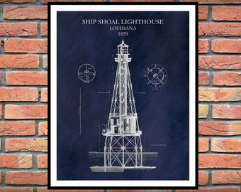 1859 Ship Shoal Lighthouse Drawing - Ship Shoal Louisiana Lighthouse Blueprint - Nautical Decor - Lighthouse Architectural Drawing