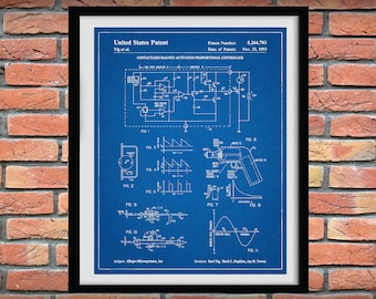 1993 Contactless Magnetic-Activated Proportional Controller Patent Print - Hall Effect Schematic - Electronics Blueprint - Semiconductor Art