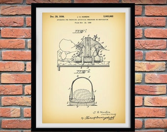 1936 Mechanical Ventilator Patent Print, Medical Ventilator System -  Respirator Patent Print - Hospital Decor - Respiratory Therapy Machine