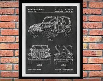 Jeep Patent Print - Jeep Wrangler Print - Jeep Wall Art - Jeep Decor -  Jeep Blueprint - Jeep Wrangler Poster - Jeep Club Poster