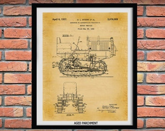 1932 Caterpillar Twenty Tractor Patent Print - Caterpillar Tractor Poster - Caterpillar Tractor Blueprint - Farm Decor - Construction Art