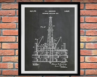 1941 Offshore Oil Drilling Rig Patent Print, Oil Rig Poster, Derrick Platform Blueprint, Oil Rig Drawing, Hydraulic Drilling Rig Art Print
