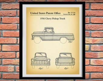 1956 Chevy Pickup Truck Patent Print,  Chevy Truck Poster, 1956 Chevy Pickup Truck Blueprint, Classic Car Lover Gift, Man Cave Decor