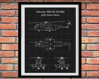Sikorsky HH-3E Jolly Green Giant Blueprint Vers #1, Sikorsky HH-3E Pararescue Helicopter Drawing, Military Helicopter Decor