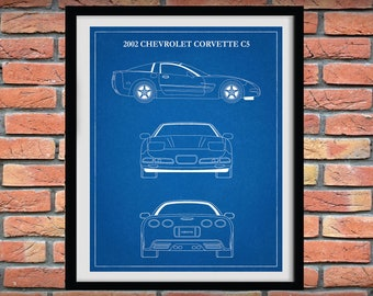 2002 Corvette C5 Art Print - Chevy Corvette C5 - Corvette Sports Car Poster - Muscle Car - Corvette Collector - 1996 - 2005 Corvette C5