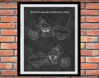 2012 Harley-Davidson FLHX Street Glide Motorcycle Print - Harley Street Glide Poster - Harley Davidson Decor - Harley Collector Gift Idea