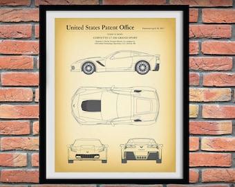 Corvette C7-Z06 Vers #2 Grand Sport Patent Print, 2017 Chevy Corvette C7-Z06 Grand Sport Patent Print, Corvette C7 Art Print, Corvette Decor