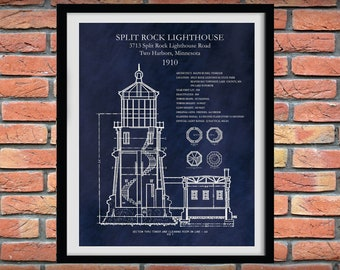 1910 Split Rock Lighthouse Drawing, Split Rock Lighthouse Poster, Nautical Decor, Lake Superior Lighthouse Art Print
