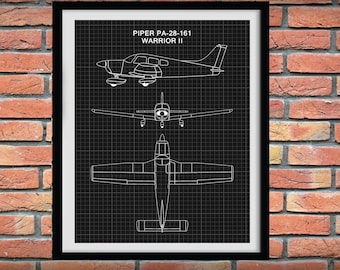 Piper PA-28-161 Drawing - Piper Warrior II Poster, Piper Cub Airplane Blueprint, Aviation Decor - Pilot School Decor