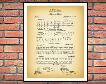 1840 Morse Code Patent Print - Morse Code Telegraph Patent Print - Morse Code Poster, Morse Code Invention, Ham Radio Operator Gift