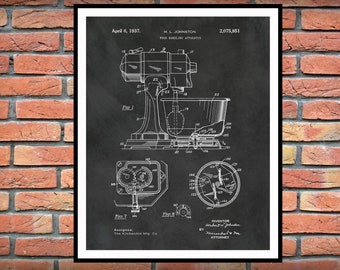 1937 KitchenAid Mixer Patent Print, Kitchen Aid Mixer Poster, Kitchen Decor, Bakery Shop Decor, Pastry Shop Decor, Pastry Chef Gift Idea