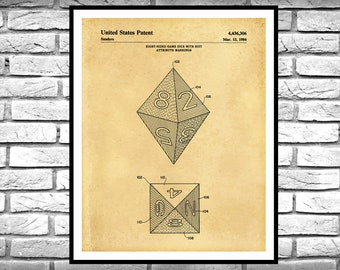 1984 Dice Patent Print, Octahedron Dice Blueprint, Game Room Decor, Dungeons & Dragons, DnD Player, Dungeon Master Dice Print, 8-Sided Dice