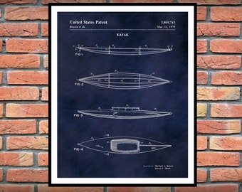 Kayak Patent Print - 1975 Kayak Poster - Kayak Blueprint - Nautical Decor - Kayak Invention - Paddle Boat Print, Camping Decor, Kayaker Gift