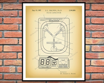 1985 Flux Capacitor Patent Print, Time Travel Invention, Doc Brown, Marty McFly, Back to the Future Memorabilia Flux Capacitor Blueprint