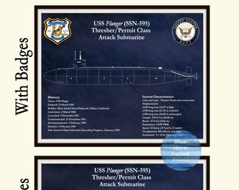 USS Plunger SSN-595 Drawing, Permit Class Submarine Blueprint, USS Plunger SSN595 Submarine Poster,Thresher/Permit Class Submarine Submarine