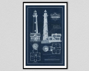Saint Simons Lighthouse Drawing, St. Simons Lighthouse Blueprint, Saint Simons Lighthouse Art Print, Nautical Decor, Georgia Lighthouse Art