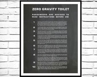 Zero Gravity Toilet Print, 2001 Space Odyssey Zero Gravy Toilet Instructions Print, Toilet Wall Art, Bathroom Decor, Bathroom Poster