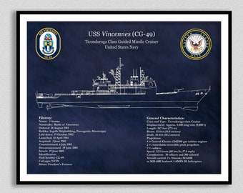 Ticonderoga Class Cruiser Drawing, USS Vincennes CG-49 Blueprint, Ticonderoga Class Guided Missile Cruiser Drawing, US Navy Wall Art Print