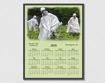 2018 Korean War Memorial Calendar - Korean War Landmark - 12 Month Calendar - Washington DC - The Forgotten War