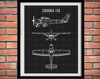 Cessna 152 Skyhawk Drawing - Airplane Art Print - Poster - Aviation Art - Aviator Decor - Pilot Art - Aviation School Art