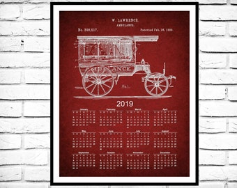 1889 Ambulance 12-Month Calendar - 1889 Ambulance Patent Print - Volunteer Ambulance Decor - EMS Gift Idea - EMT Gift Idea