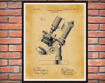 1899 Microscope Patent Print - Bausch Microscope Poster - Hospital Decor - Medical Lab Decor - Microbiology Lab Decor - Scientist Gift Idea