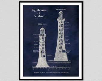 Skerryvore Lighthouse Drawing - Bell Rock Lighthouse Drawing - Nautical Decor - Lighthouses of Scotland - Lighthouse Lover Gift Idea