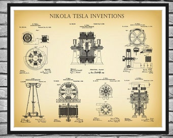 Nikola Tesla Patent Prints - 7 Nikola Tesla Inventions Poster - Science - Electrical Engineer Gift - Technology Decor - Electrician Gift