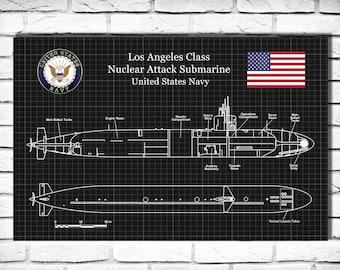 USS Los Angeles SSN-688 Class Submarine Art Print Poster - Naval Wall Art - War Ship Art - Military Art - US Navy Nuclear Attack Submarine