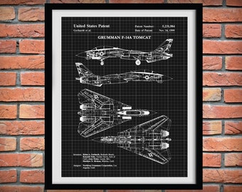 1999 F-14A Tomcat Bomber Plane Patent Print Northrop Grumman Art Print - F-14 Poster - Aviation Decor - Supersonic Military Fighter Plane