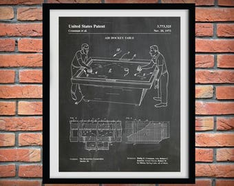1973 Air Hockey Table Patent Print - Art Print - Poster Print - Game Room Wall Art - Home Decor -