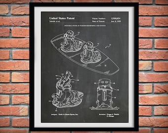 1999 Wakeboard Patent Print  - Water Ski Blueprint - Nautical Decor - Water Skier Gift - Water Sports Art - Beach House Decor