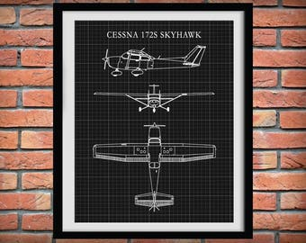 Cessna 172 Skyhawk Drawing - Airplane Art Print - Poster - Aviation Art - Aviation Decor - Pilot Art - Aviation School Art