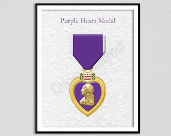 Purple Heart Medal Art Print, Purple Heart Medal Drawing, Purple Heart Medal Blueprint, Military Decor, Support Our Veterans Gift Idea,