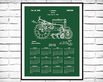 2019 Calendar 1935 John Deere B Tractor Print - Agriculture Calendar - Farming 12 Month Calendar - Farm Equipment Patent - Farm Decor