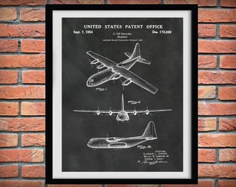 1954 C-130 Hercules Airplane Patent Print Lockheed Martin Bomber Plane - Art Print - Poster - Wall Art - War Airplane - War Memorabilia